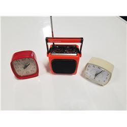 2 Vintage Westclox Alarm Clock & 1 Westheimer Radio