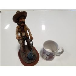 Leaning Tree Coffee Mug & Figurine Statue of Coffee Drinking, Happy Cowboy