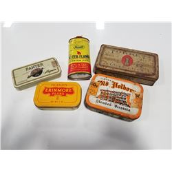 Lot of Vintage Rexall Lighter Fluid Tin & 4 Vintage Tobacco Tins