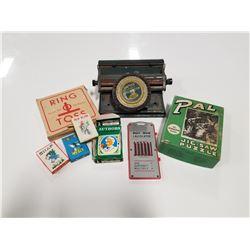 Lot of Vintage Kid's Card Games, 1940s Puzzle, & Toy Typewriter