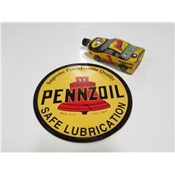 Reproduction Pennzoil Sign & 2003 Collectible Oil Bottle