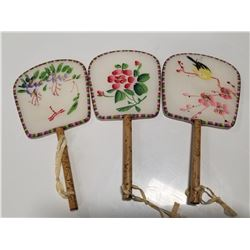 Lot of 3 Small, Vintage Asian Fans