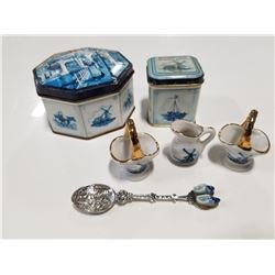 Lot of Blue Holland Windmills, Tins & Collectibles