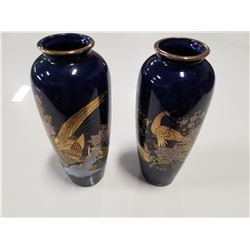 Set of 2 Made in Japan Blue Vases with Bird/Peacock motifs