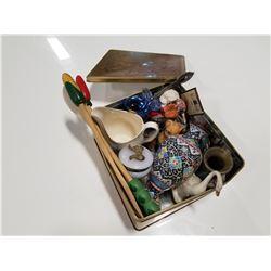 Estate Tray Lot: Figurines, Kitchen, Brass, Etc.