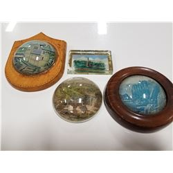 Set of 4 Antique Glass Souvenir Paperweights