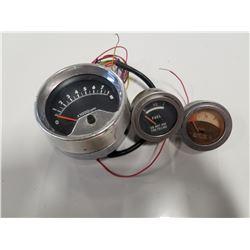 2 Vintage Small Fuel Gauges & Vintage Tachometer RPM Gauge