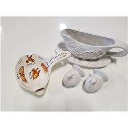 Vintage Fat & Lean Gravy Separator with Cool Graphics; Gravy Bowl with tray; New Turkey S&P Shakers