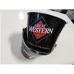 """Lot of 2 Great Western Brewing Co. """"The Big tast of the Prairies"""" Advertising Tin Beer Buckets"""