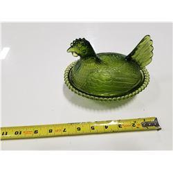 Green Glass Nesting Hen Bowl