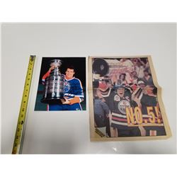 Signed Dave Hunter Oilers Picture & 1990 Edmont Journal Insert Souvenir Edition with Mark Messier