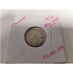 1954 Key Date Silver Canada Dime