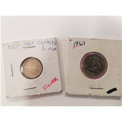 1967 Centennial Silver Dime & Nickle