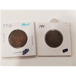 1910 & 1911 Canad Large Pennies