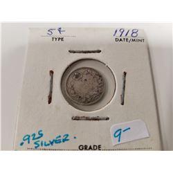 1918 Canada Silver 5 Cent