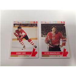 Lot of 2 Bobby Orr & Peter Mahovolich Hockey Cards