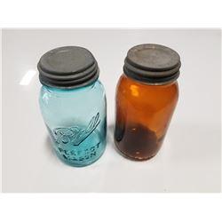 Lot of Antique Jars (Blue & Amber)