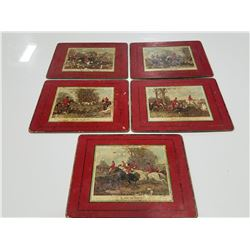 Antique Hard Board Place Mats (Set of 5) - English Fox Hunting Scenes