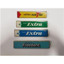Lot of 4 Vintage Wrigley's Gum Advertising Rack Metal Labels