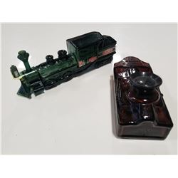 Vintage Avon Aftershave Bottles - Train & Wall Phone (Lot of 2)