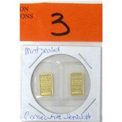 Two 1 Gram .9999 Fine Gold Johnson Matthey Bars