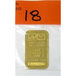 Rare 1979 Johnson Matthey 1/2 Oz .999 Gold Bar