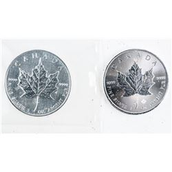 Lot (2) .999 Fine Silver $5.00 Coins Maple Leaf