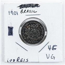1901 Brazil 100 Reis VF-VG