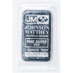Johnson Matthey .999 Fine Silver 1oz Bar. Original