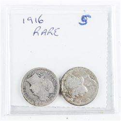 1916 Rare - Transition Pair USA Dimes