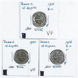 Group (3) '15 Kopeks' Russia: 1915, 1916, 1930 (VF