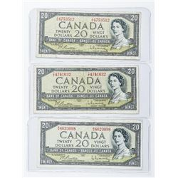Group of (3) Bank of Canada 1954 20.00 Modified Po
