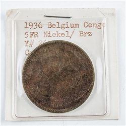 1936 Belgium Congo 5FR. Nickel and Bronze  Y#36 (VF)