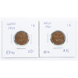 Lot (2) NFLD One Cent: 1940 EF40 and 1947  EF40