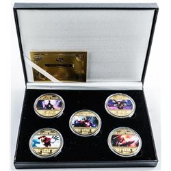 Iron Man - 5pc Collection Gold Plated Medals  with Colour