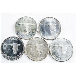 Lot (5) 1867-1967 Specimen Silver Dollars