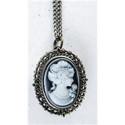 Oval Cameo Case Watch Pendant