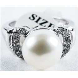 925 Silver Classic Pearl Ring with Swarovski  Elements. Size 8