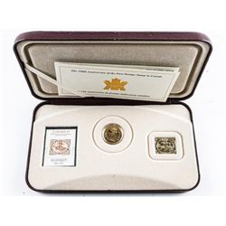 150th Anniversary First Postage Stamp in  Canada Stamp and Gold Plated Coin- Case Worn