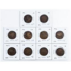 Group (10) Canada Large Cent Coins -  1910-1920 Missing 1915