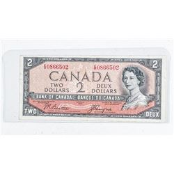 Bank of Canada 1954 2.00 Note Devil's Face.  C/T