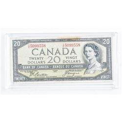 Bank of Canada 1954 20.00 Devil's Face. C/T