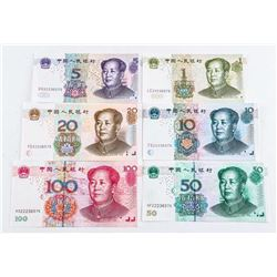 Set of (6) Notes of China 2005 GEM UNC All  Matched Serial Numbers