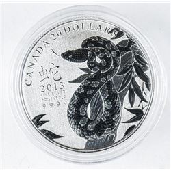 .999 Fine Silver $20.00 Year of the Snake  Coin