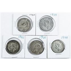 Group of (5) George Gold Britain Half Crowns  - Silver: 1933, 1939, 1940, 1942, 1944