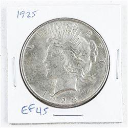 1925 Silver USA Peace Dollar EF45