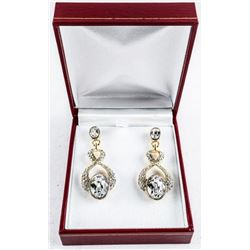 925 Silver/Gold Plated 3 Tier Oval Swarovski  Elements Earrings