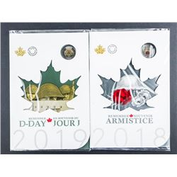 Lot (2) 2018 - 2019 Remember D-Day and  Armistice - Coin Folios, Special Issue Colour  2.00 Coins