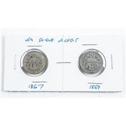 Pair USA Shield Nickels 1867 and 1869