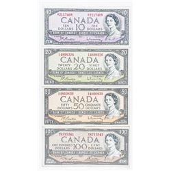 Group (4) Bank of Canada 1954 10.00, 20.00,  50.00 and 100.00 Notes